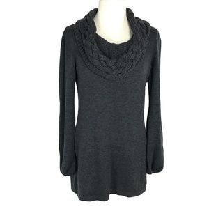 Tahari M Cable Knit Cowl Neck Sweater Gray